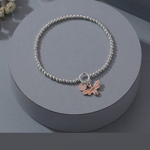 Silver Bead Elasticated Bracelet & Rose Gold Bumble Bee Pendent