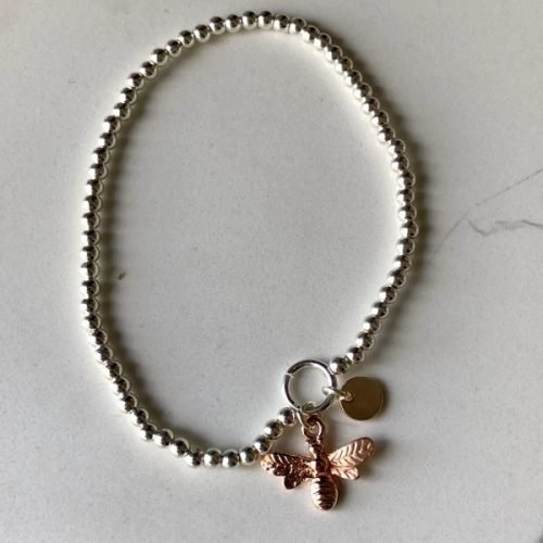 Silver with a Rose Gold Coloured Bumble Bee Bracelet