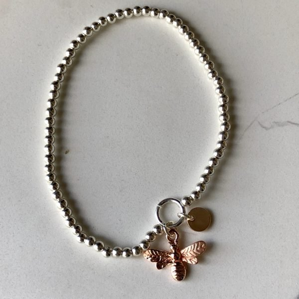 Silver with rose gold bee braclet