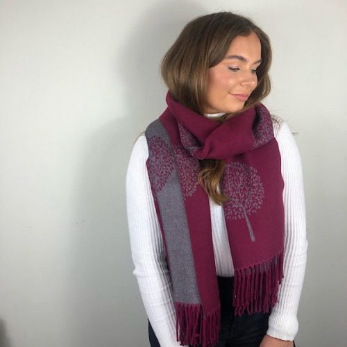 Wine and Grey Mulberry Tree of Life Cashmere Blend Reversible Scarf