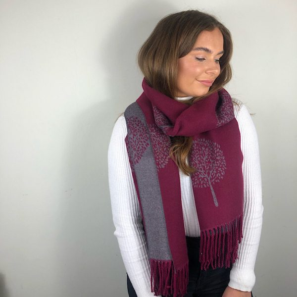 Wine Mulberry Tree of Life Cashmere Blend Reversible Scarf