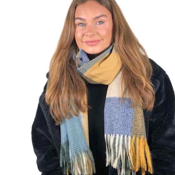 blue check scarf