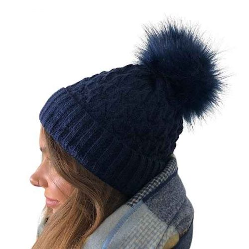 Navy Fleece Lined Bobble Hat with Navy Faux Fur Pompom