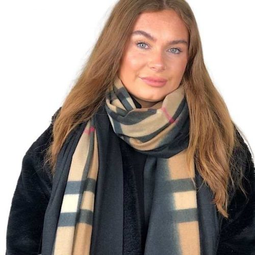 Camel Burberry Style Black Bordered Scarf.