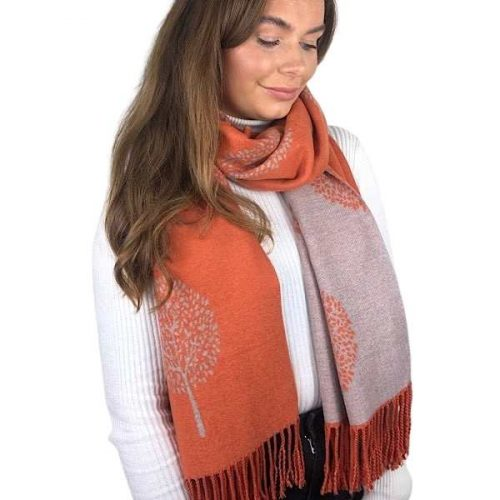Orange and Grey Mulberry Tree of Life Cashmere Blend Reversible Scarf