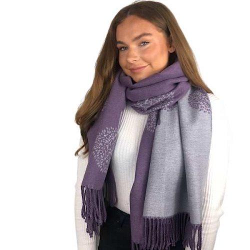 Purple and Grey Mulberry Tree of Life Cashmere Blend Reversible Scarf