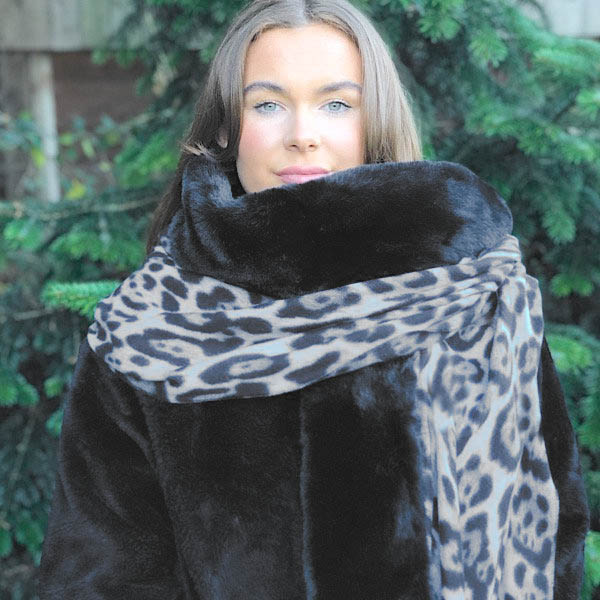 Black Animal Print Wrap with Faux Fur Edge
