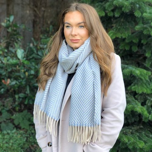 Herringbone Cashmere Blend Blue and Cream Tassled Scarf