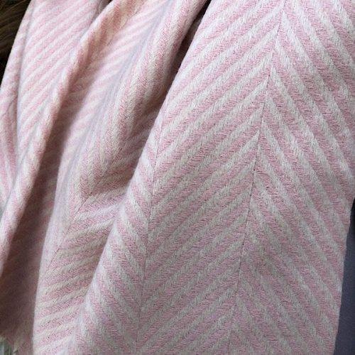 Herringbone Cashmere Blend Pink and Cream Tassled Scarf.
