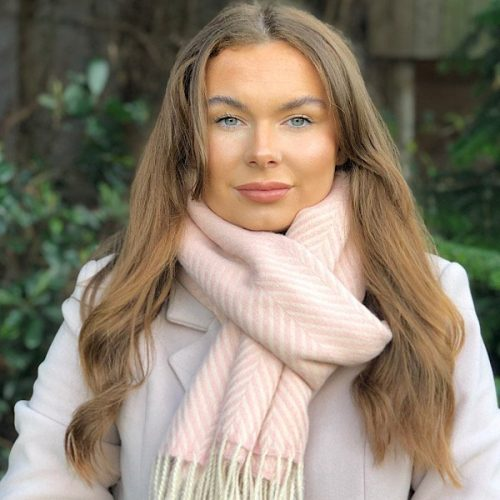 Herringbone Cashmere Blend Pink and Cream Tassled Scarf.