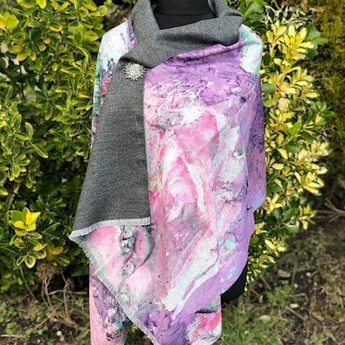 Cashmere Blend Luxury Wrap/Scarf Pink Skies