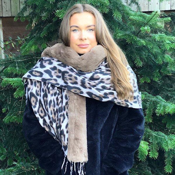 Brown Animal Print Wrap with Faux Fur Edge