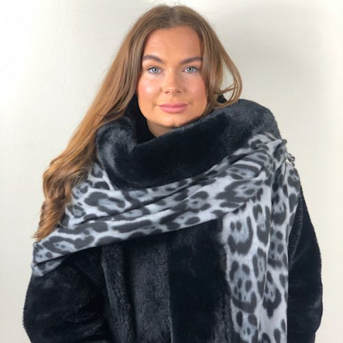 Black Animal Print Wrap with Faux Fur Edge