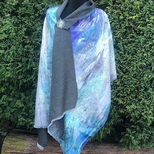 Cashmere Blend Luxury Wrap/Scarf Blue Water