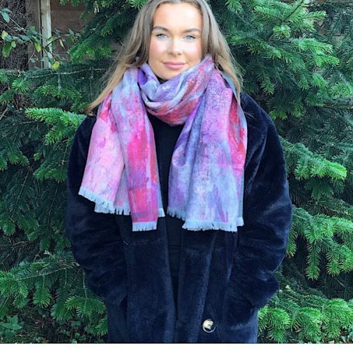 Cashmere Blend Luxury Wrap/Scarf Pink Skies