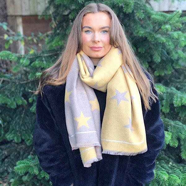 mustard beige star scarf