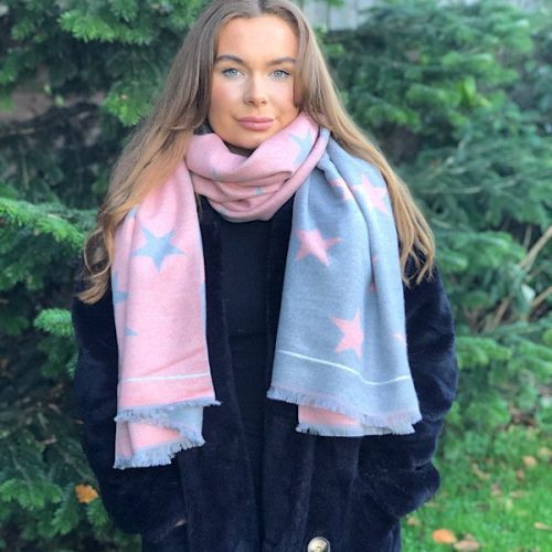 pink and grey star scarf
