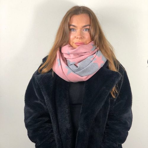 Cashmere Blend Star Pink / Grey Shawl,Wrap,Scarf.