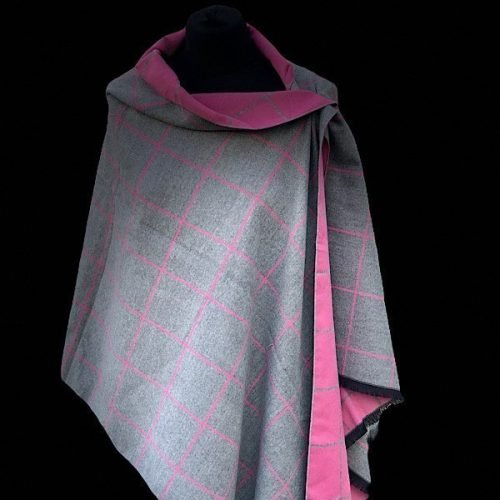 Cashmere Mix Cerise Grey Scarf/Shawl/Wrap