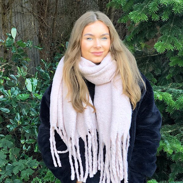 pale pink plain big scarf