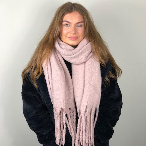 Pale Pink Tassel Super Soft Big Scarf