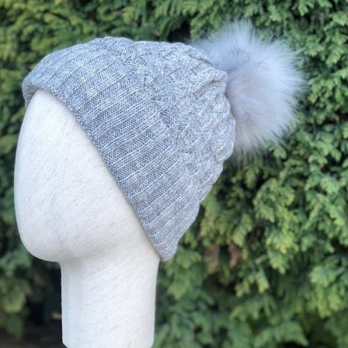 Fleece Lined Bobble Hats with Faux Fur Pompoms