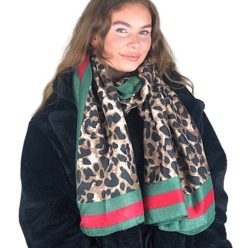 Animal print scarf with Green / Red Border.