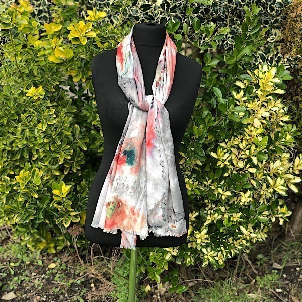 Digitally Printed Cosmic Design Scarf Coral