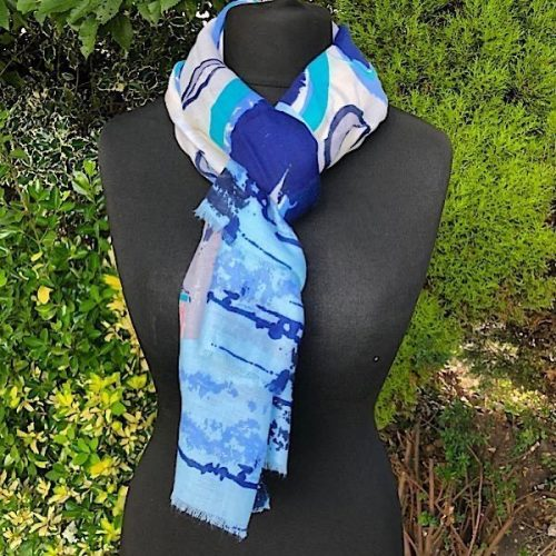 Blue Greys and Pinks Lightweight Scarf