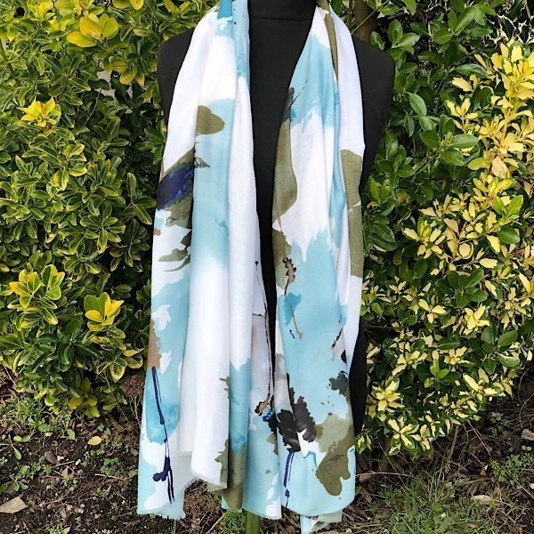 Abstract Floral Soft Green Scarf