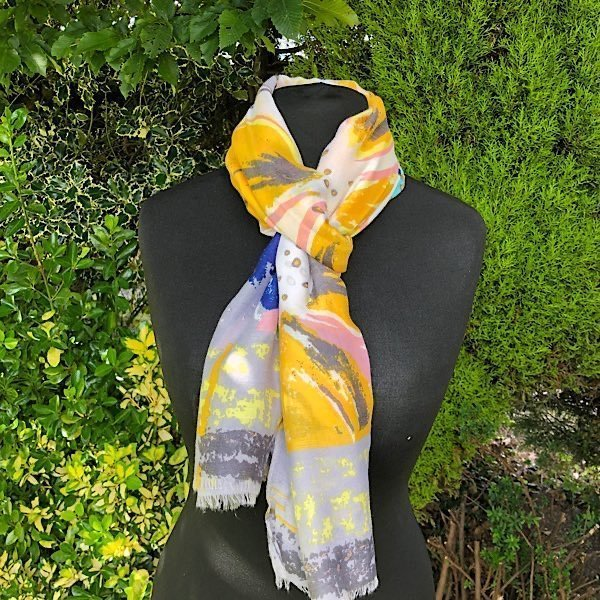 Pink yellow and blue lightweight scarf
