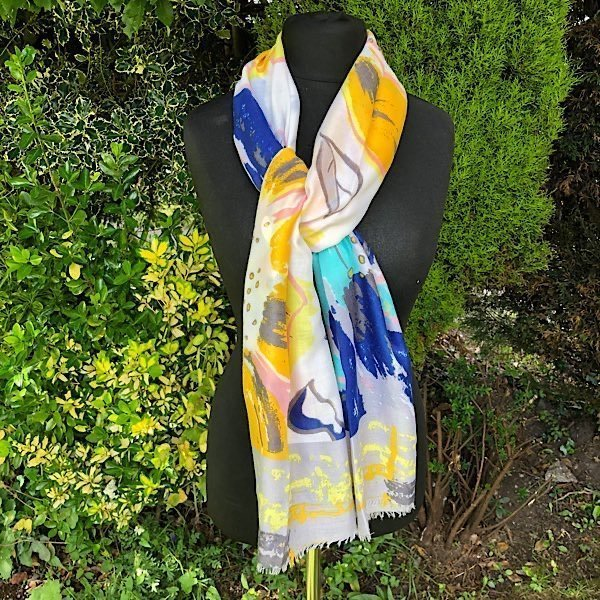 Yellow Blues and Pinks Lightweight Scarf