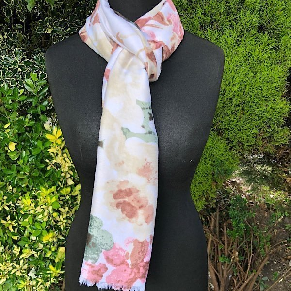 Soft Creams and pinkl floral scarf