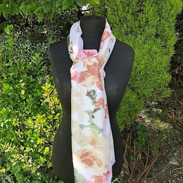 Soft Creams and Pinks Floral Scarf