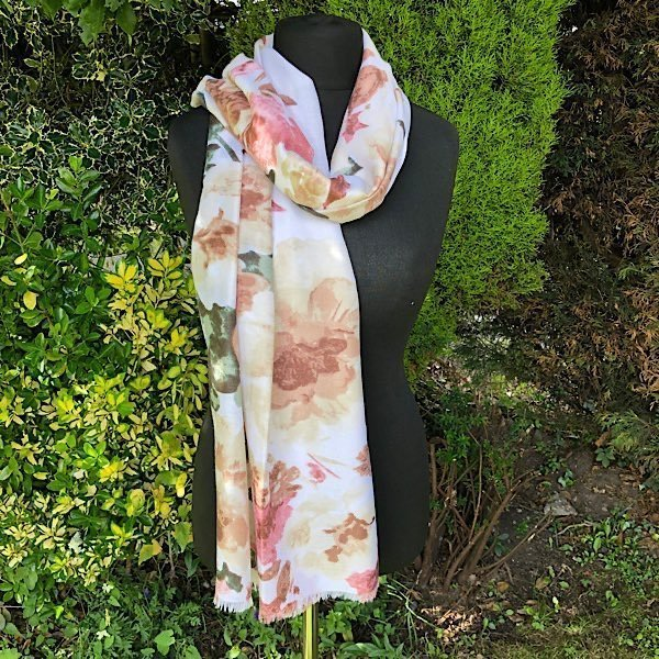 soft creams floral scarf