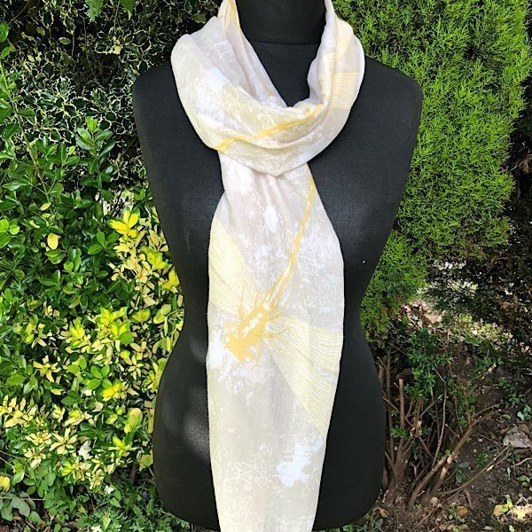 Sheer Dragon Fly Beige and Yellow Lightweight Scarf