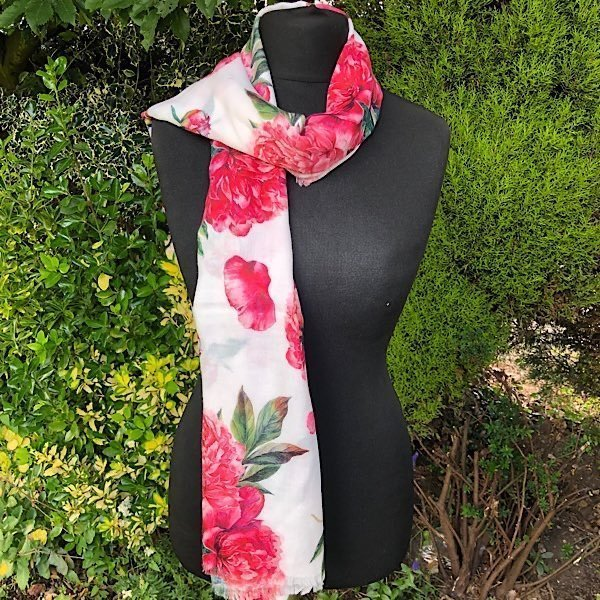 Peony Floral Lightweight Scarf