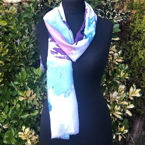 Abstract Floral Purple Scarf
