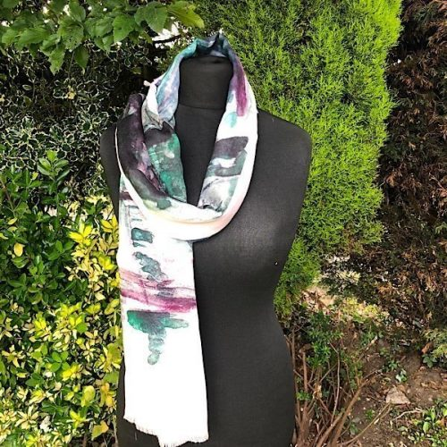 Watercolour Digitally Printed Pink Purple Scarf
