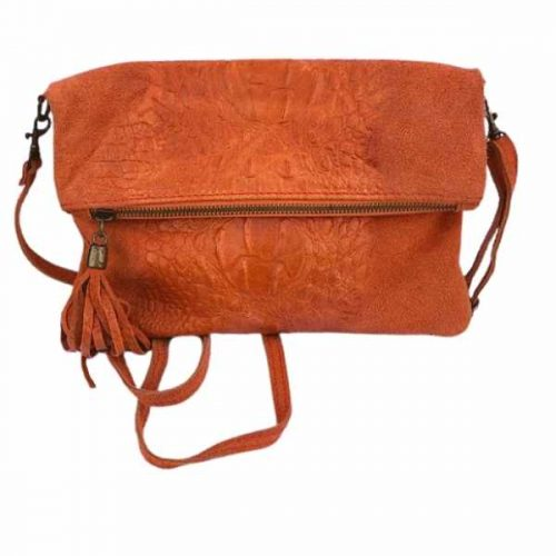 Italian Suede Orange Clutch Bag