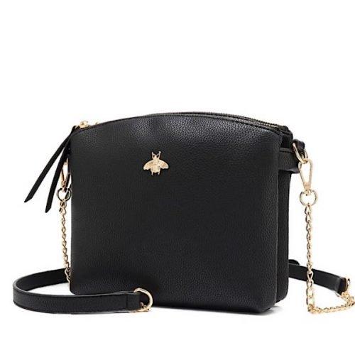 Black bumblebee double zip cross body bag with card holder.