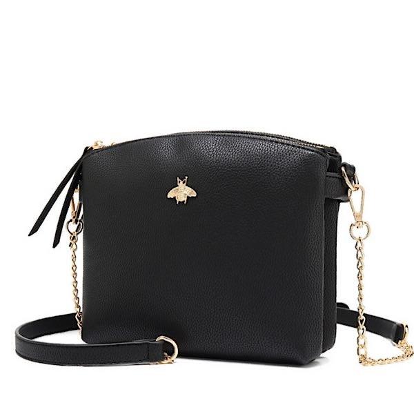 Black cross body bee bag