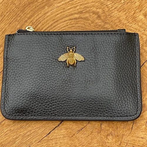 Black Leather Bumblebee Coin Purse