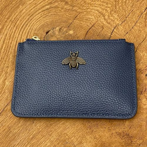 Navy Leather Bumblebee Coin Purse