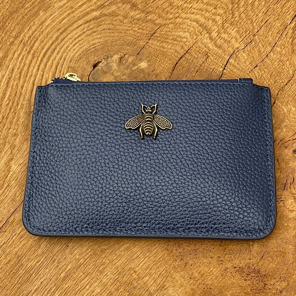 Navy leather Bee purse