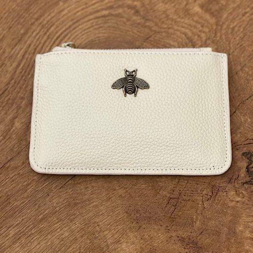 Cream Leather Bumblebee Coin Purse