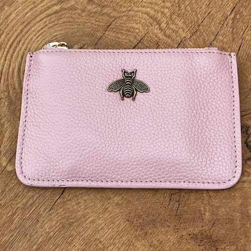 Pink  Leather Bumblebee Coin Purse
