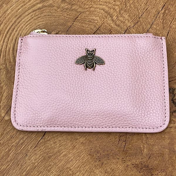 pink leather coin purse
