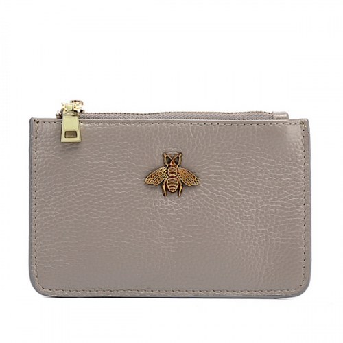Grey Leather Bumblebee Coin Purse