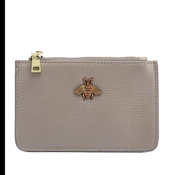 grey leather purse